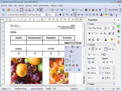 Interfaz Writer OpenOffice