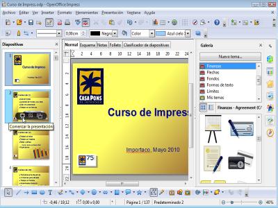 Interfaz Impress OpenOffice