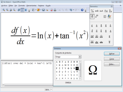 Ejemplo interfaz Math de OpenOffice