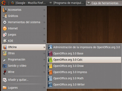 Interfaz aplicaciones OpenOffice en Ubuntu