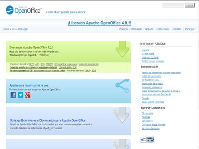 Interfaz página descarga Apache OpenOffice 4.0.1