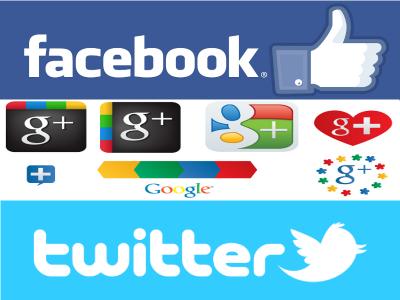 Las 3 mayores redes sociales: Facebook, Google+ y Twitter