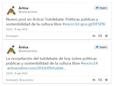 Últimos tuits del tuitdebate sobre 'Políticas públicas culturales y sostenibilidad de la cultura libre' | Árticaonline